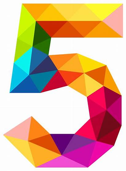 Number Five Clipart Numbers Triangles Colourful Transparent