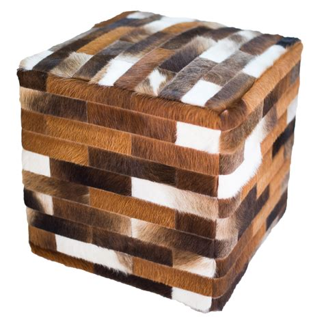 Cowhide Cube Ottoman - cowhide cube ottoman brown