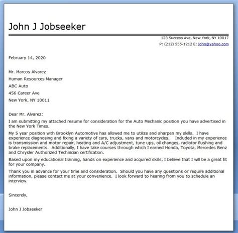 Resume Cover Letter For Maintenance Mechanic by Auto Mechanic Cover Letter Template Cover Letter For