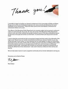 Team Appreciation Letter A Letter Of Thank You From The Chief Of Police The City