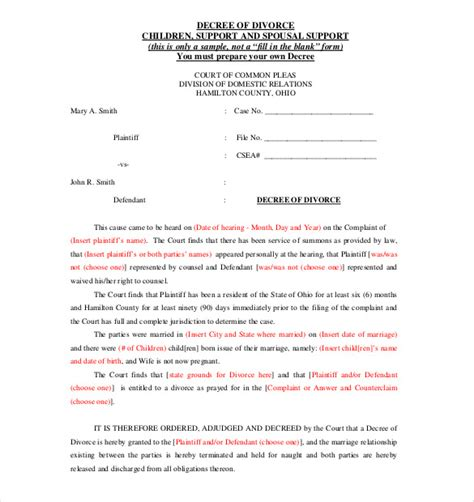 divorce agreement templates  sample