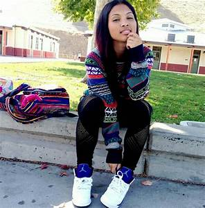Her outfit is dope #airjordans #grapes #shoes #ootd ...