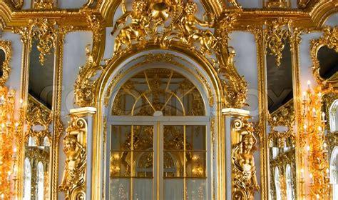 beautiful wall  large door golden stock image
