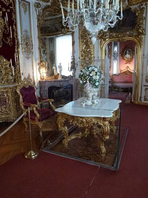 Linderhof Palace dining room table is on a platform that