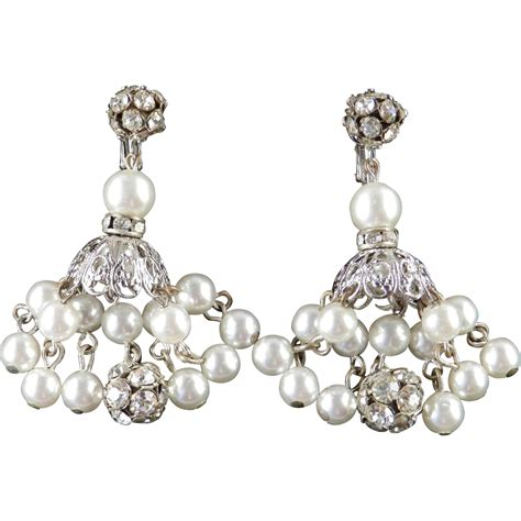 dalsheim rhinestone faux pearl dangle chandelier earrings