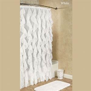 cascade ruffled voile shower curtain With voile bathroom curtains