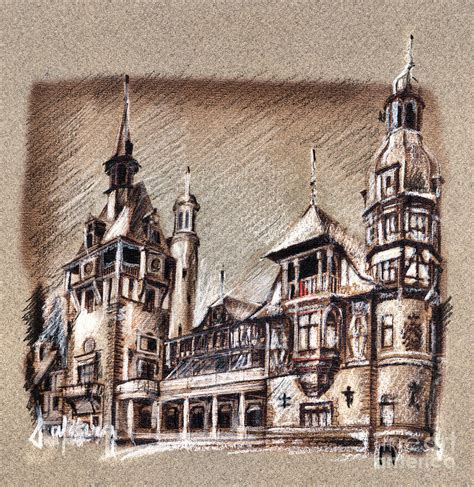peles castle romania drawing drawing  daliana pacuraru