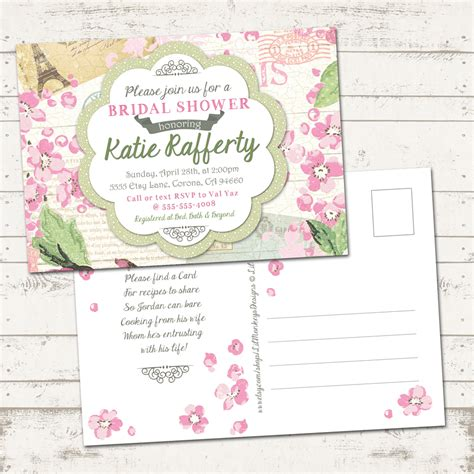 shabby chic wedding shower invitations valerie pullam designs bridal shower invitation shabby chic paris vintage inspired pinks