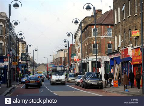 road shop traffic congestion on leyton high road in the east end of near stock photo 27878359 alamy