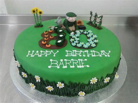 Garden Decoration For Cake by Gardening Themed 80th Birthday Cake Boys Cakes 80