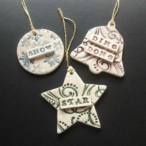 folksy buy quot set of 3 vintage style ceramic xmas