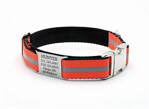 blaze orange reflective dog collar with built in personalized nameplate