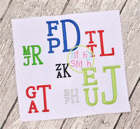 stacked serif embroidery monogram font  itch  stitch