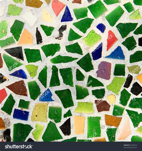 colorful trencadis broken tiles mosaic stock photo