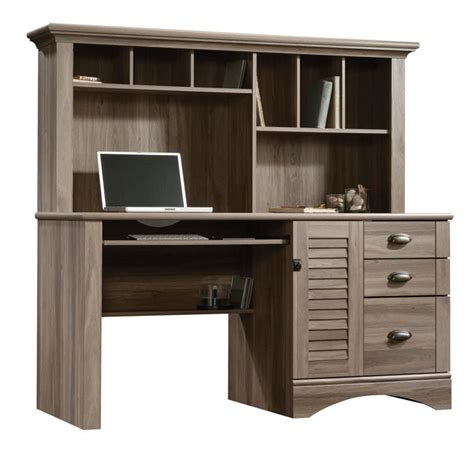 sauder computer desk salt oak sauder harbor view salt oak computer desk with hutch 415109