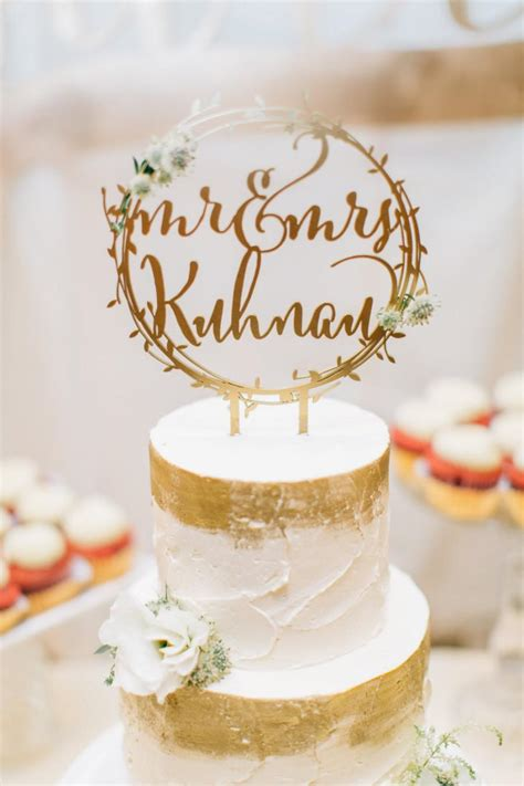 quot a quot cake topper laser cut rustic mr and mrs gold wreath wedding cake