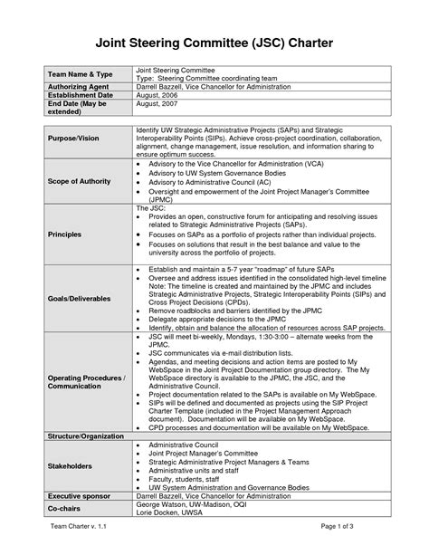 committee charter template it steering committee charter