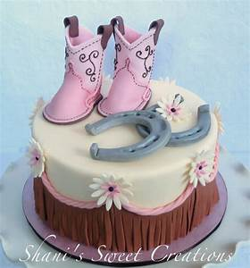 Sweet Baby Shower Cake With Baby Cowboy Boots Horseshoes