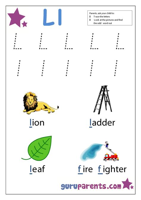 letter  worksheets guruparents