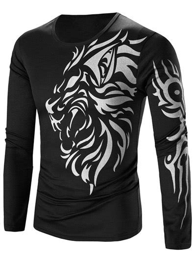 [15% OFF] Tattoo Style Tiger Print Round Neck Long Sleeve T-Shirt For Men | Rosegal