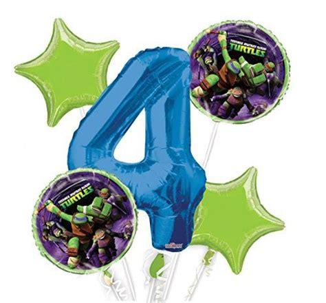Ninja Turtles Balloon Bouquet 4th Birthday 5 Pcs Party