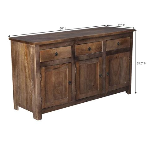Unfinished Wood Sideboard by Willshire Solid Wood 3 Drawer Rustic Sideboard Cabinet