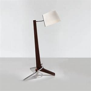 Silva led table lamp dark stained walnut beech for Lamp table beech