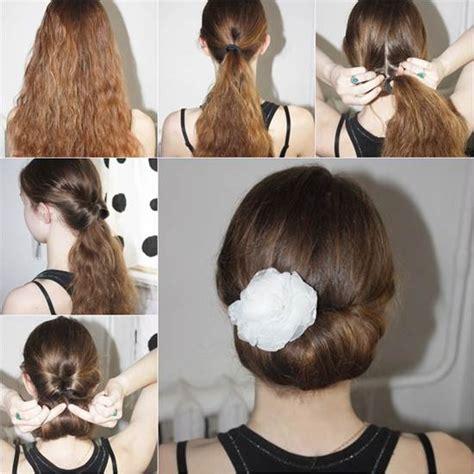 diy easy  elegant bun hairstyle icreativeideascom