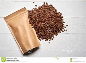 Mock-up Craft Paper Pouch Bags With Coffee Beans Stock ...