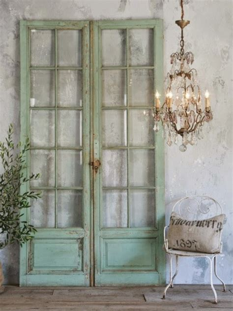 antique doors in the interior add unique accents to the