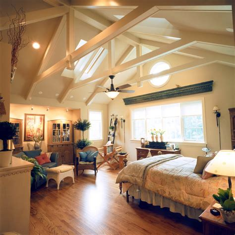cathedral ceiling recessed lighting home with vaulted ceilings traditional bedroom