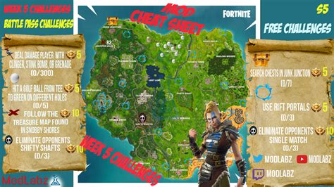fortnite week 5 challenges mod sheet guide for fortnite battle royale season 5