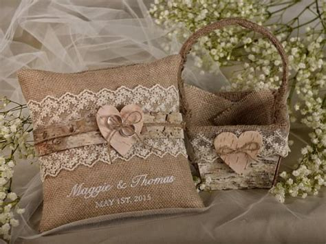 shabby chic ring bearer pillow flower girl natural birch bark basket burlap ring bearer pillow set shabby chic burlap rustic