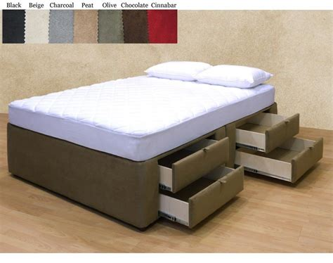 New Upholstered Microfiber Platform Bed With 8 Storage
