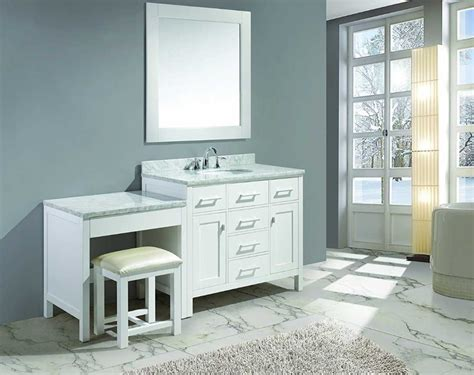 single sink vanity with makeup area in white finish