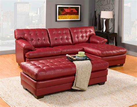 Red Bonded Leather Sectional Sofa He739r
