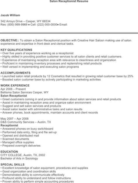 receptionist resume templates for excel pdf and word