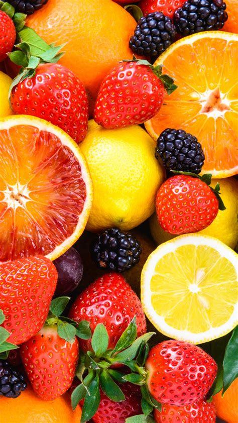 wallpaper fruit apple orange strawberry lemon