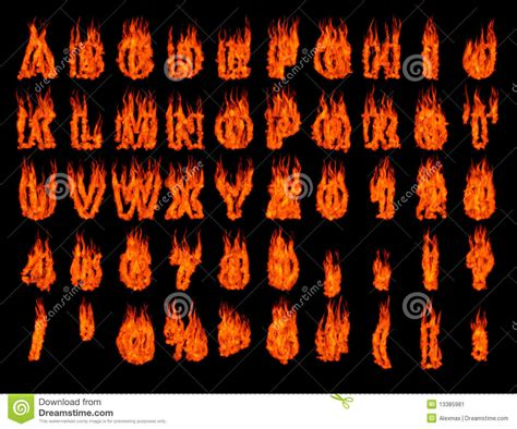 Flame Hot Fonts On Black Background Stock Photography
