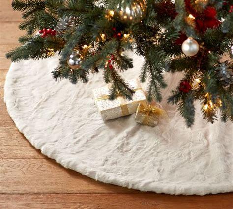 70 inch christmas tree skirt alpaca faux fur tree skirt pottery barn