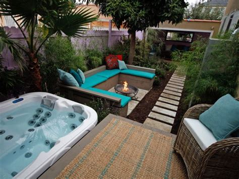 hot tub deck fire pit  lush patio home