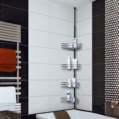 shelf metal shower corner tension pole caddy organizer