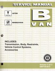 vehicle repair manual 2005 pontiac aztek user handbook 2005 pontiac aztek buick rendezvous factory service manual 3 volume set