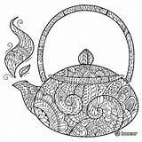 Coloring Zentangle Tea Teapot Coffee Adult Adults Doodle Patterns Zen Mandala Cup Zentangles Cups Stack Guardado Desde sketch template