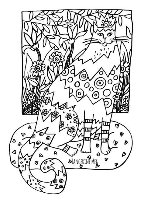 that fucking cat template cat coloring page for adults tangerine meg
