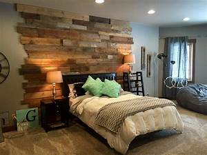 Staggered barnwood wall rustic bedroom st louis by for Barnwood walls in bedroom