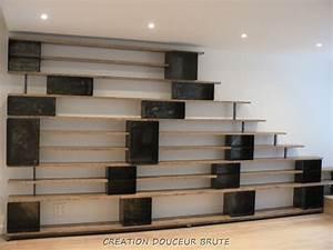 Bibliothèque Design Bois : biblioth ques en metal acier et bois patin ~ Teatrodelosmanantiales.com Idées de Décoration