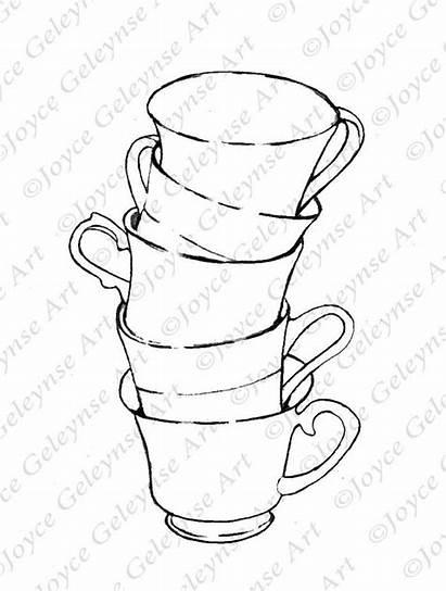 Stack Coloring Drawing Teacups Teacup Stamp Tea