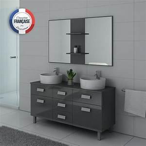 Meuble Vasque Double : meuble de salle de bain double vasque gris dis911gt ~ Teatrodelosmanantiales.com Idées de Décoration