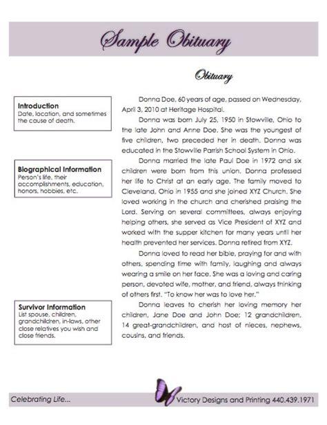 obituary templates  samples  template